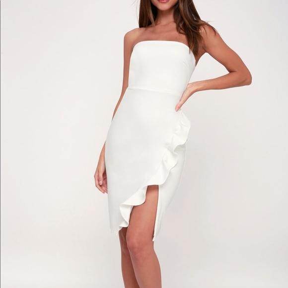 b56eca7d7 Lulu's Dresses | Anika White Ruffled Strapless Bodycon Dress | Poshmark